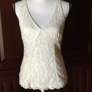 Express cream lace lined top L